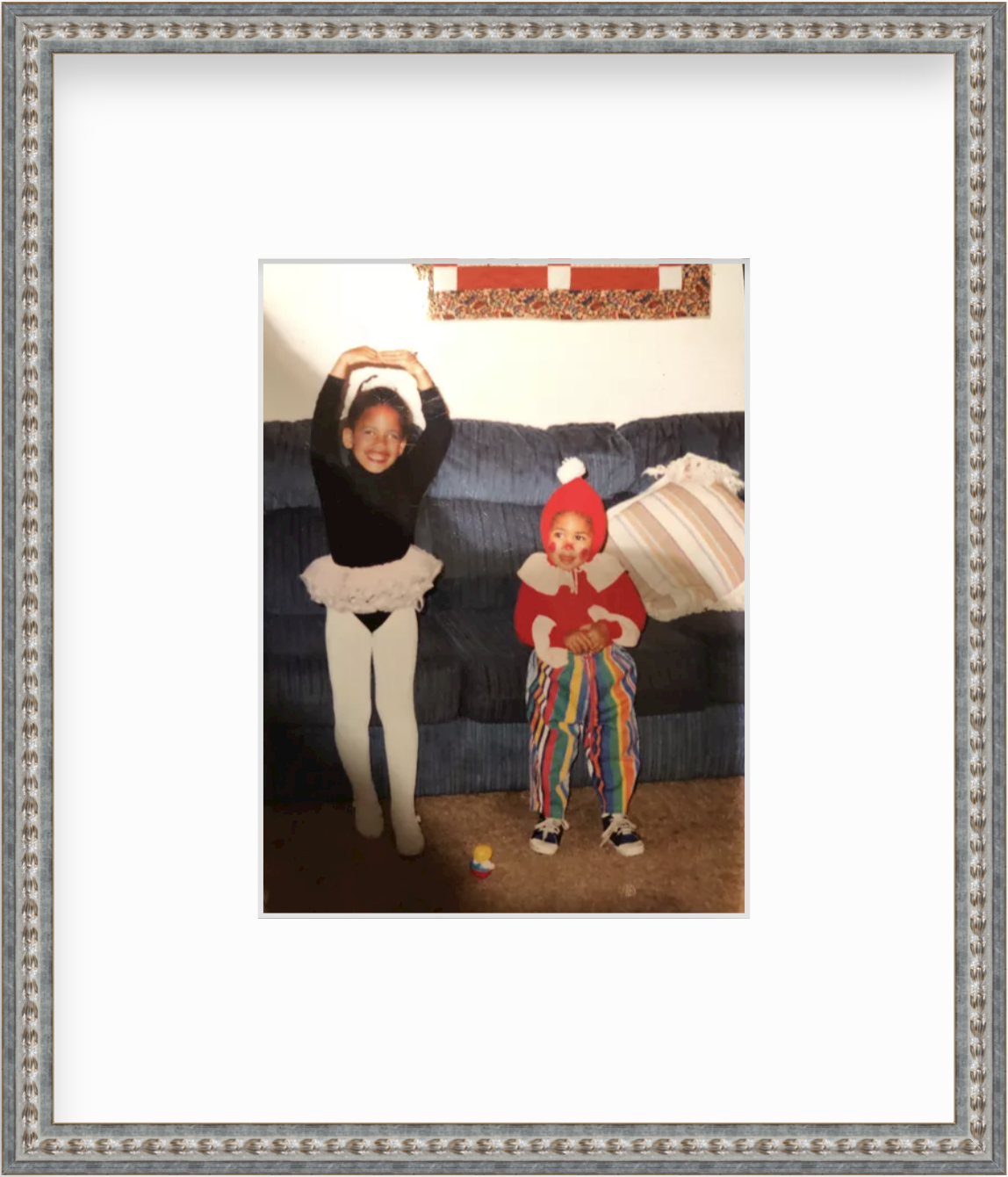 framed photo of kids in halloween costumes