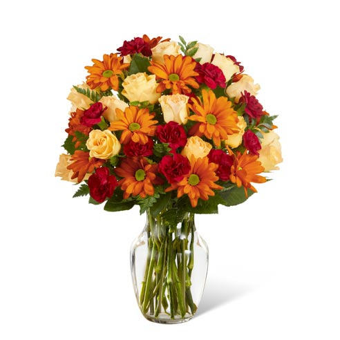 Best selling Thanksgiving flowers orange daisy and roses bouquet