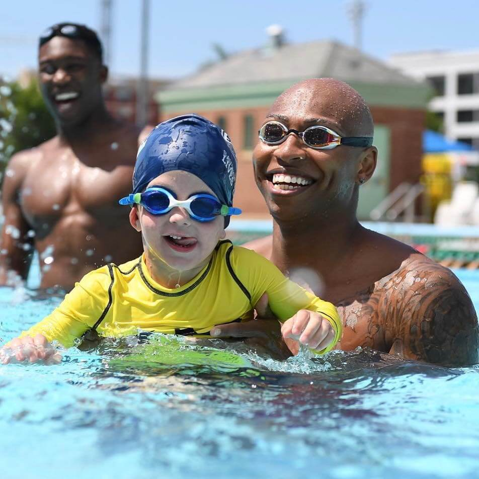Olympic swimmer Cullen Jones and competitive swimmer Reece Whitley help kick off the USA Swimming Foundation's 2018 Make a Splash Tour