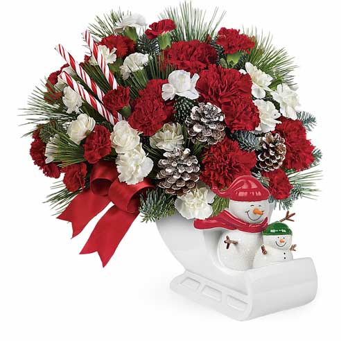 Red carnations snowman sleigh bouquet Christmas flowers gift delivery