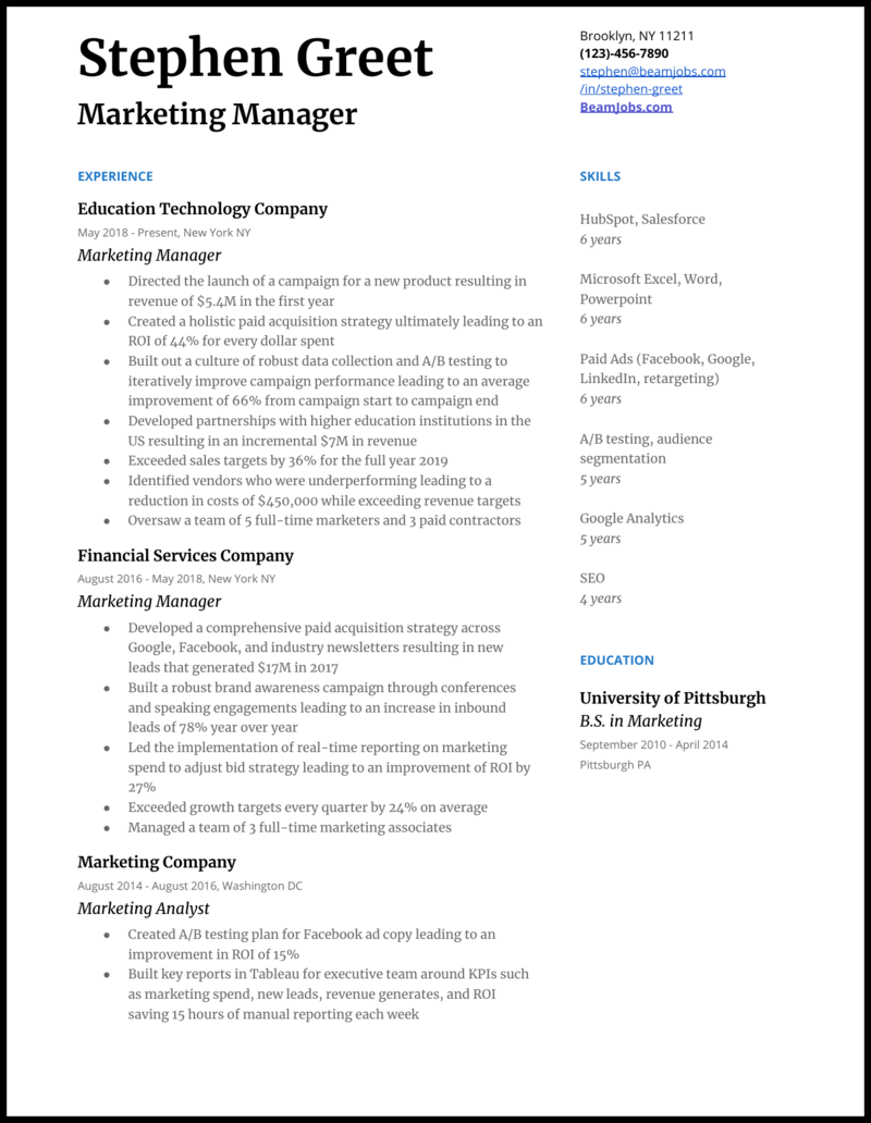 Marketing Manager Resume Examples Guide For 2020