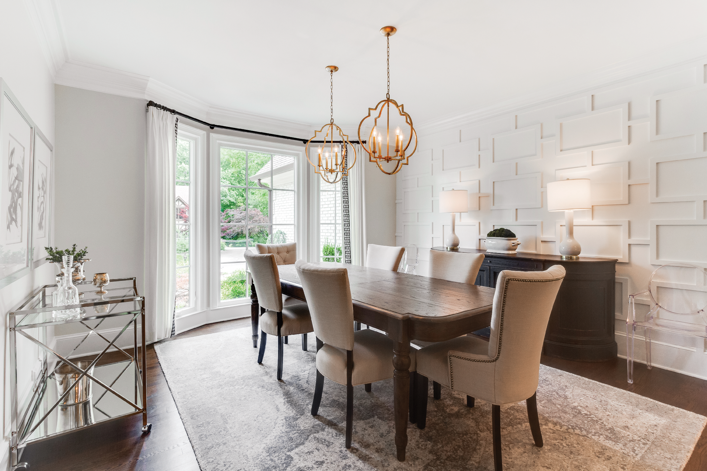 Interior of dining room with Infinity from Marvin replacement fiberglass casement windows