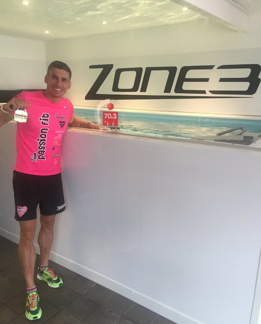 Triathlon coach Tom Ward at the Endless Pools swimming machine in his Passion Fit studio