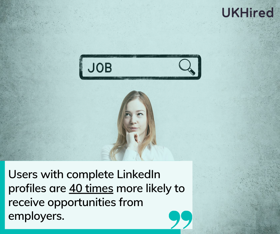 users with complete profiles are 40 times more likely to receive opportunities from recruiters