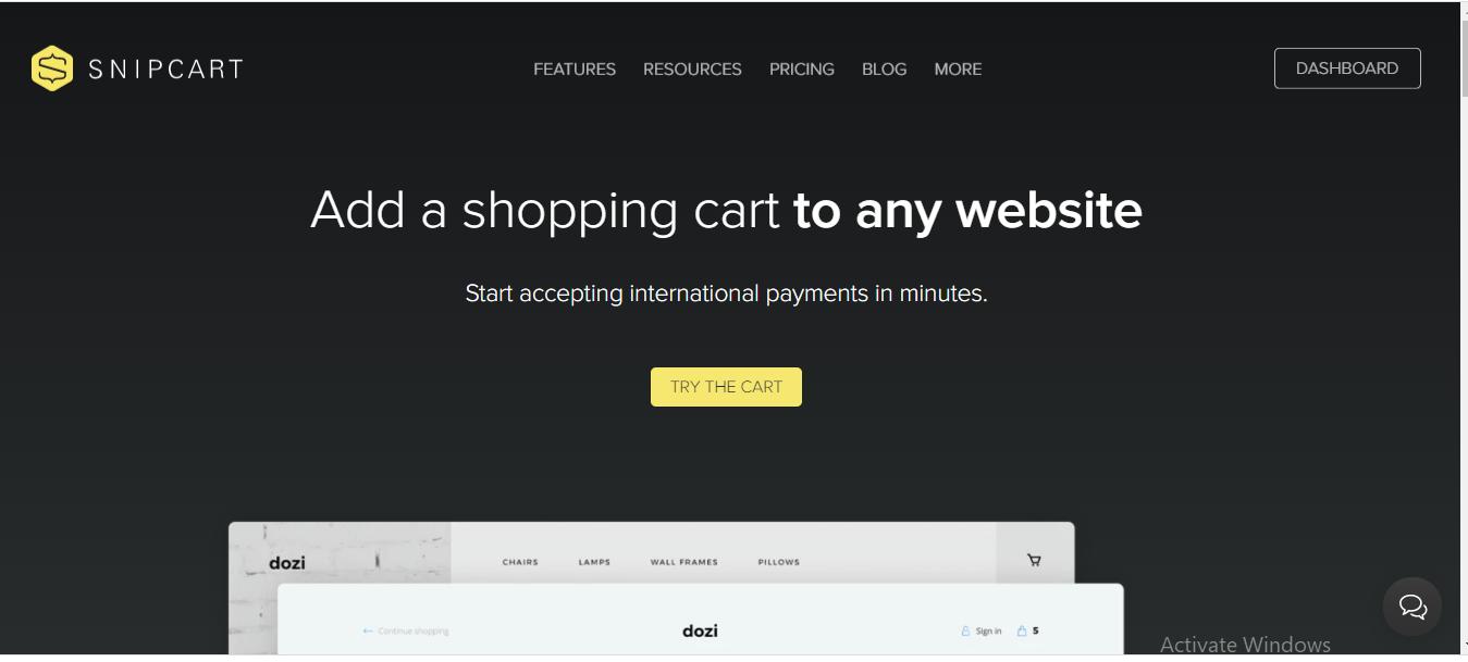 Screenshot: Snipcart homepage