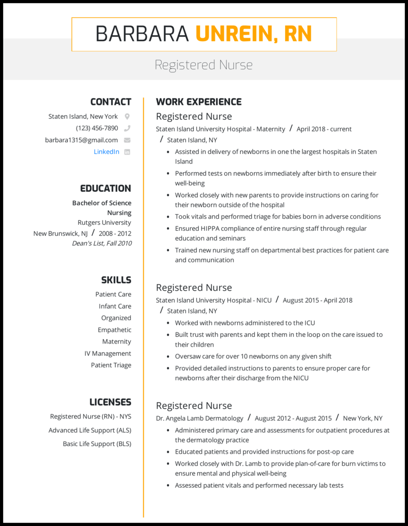 Nursing resume with 5+ years of experience
