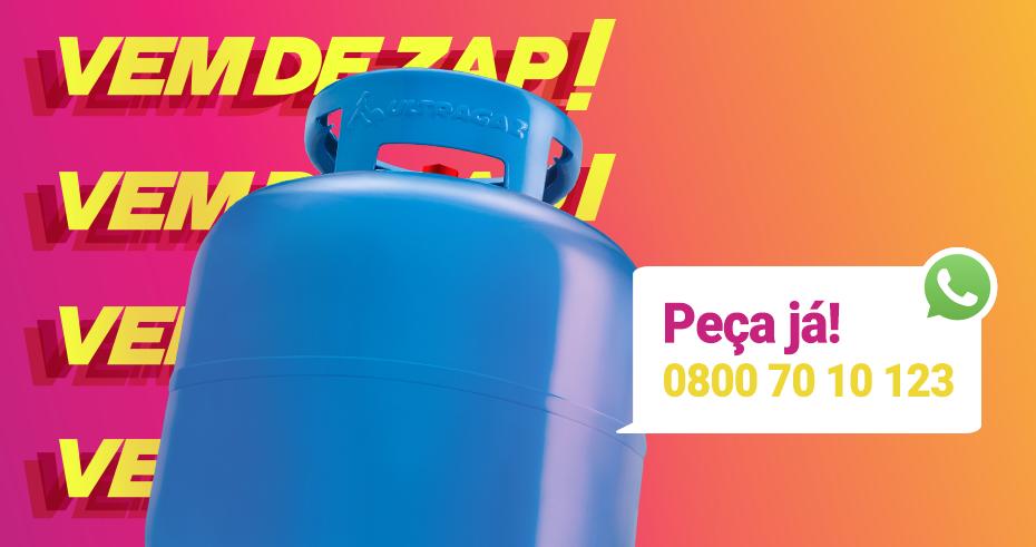 Botijão Ultragaz com mensagem: peça já e pague online. 0800 70 10 123.