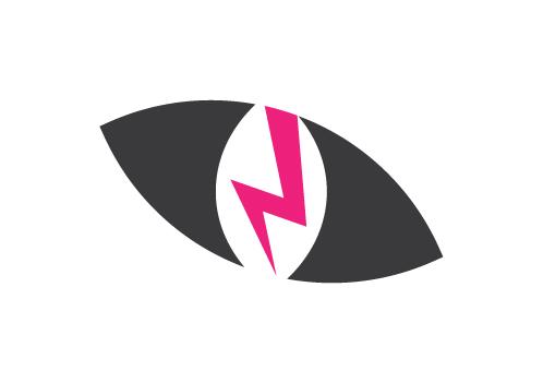 Rebel Cat Designs symbol logo version two - cat eye with lightning