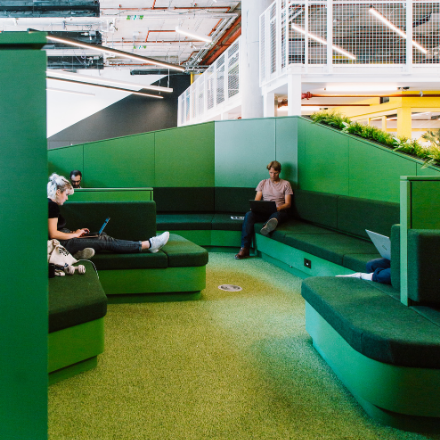 Huckletree_White_City_Breakout_Space_Green_Seating