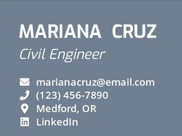 Contact information inside header for engineering resume