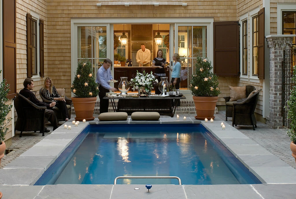 a courtyard Endless Pools installation featured in Coastal Living Magazine