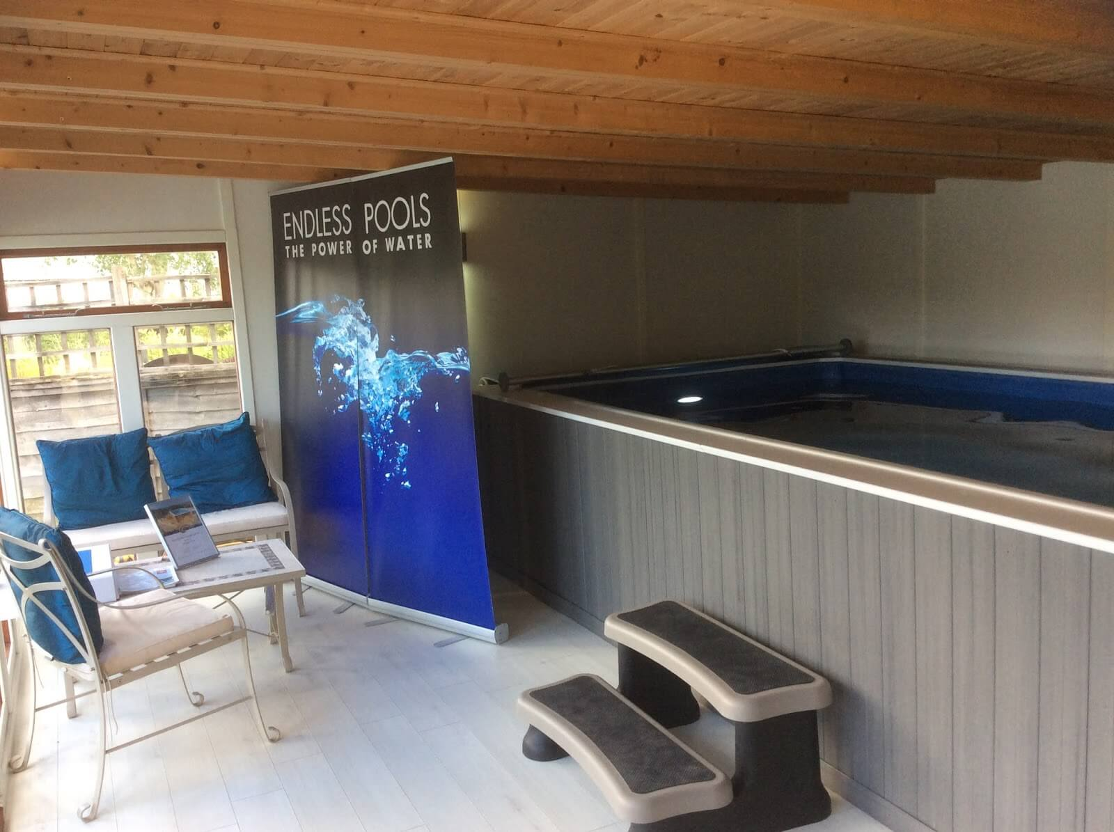 the Endless Pools floor model at Home Counties Pools & Hot Tubs