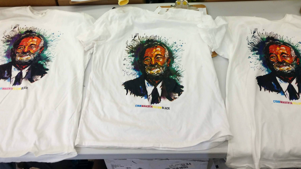 A CMYK screen print on a t-shirt with an illustration of Bill Murray's face.