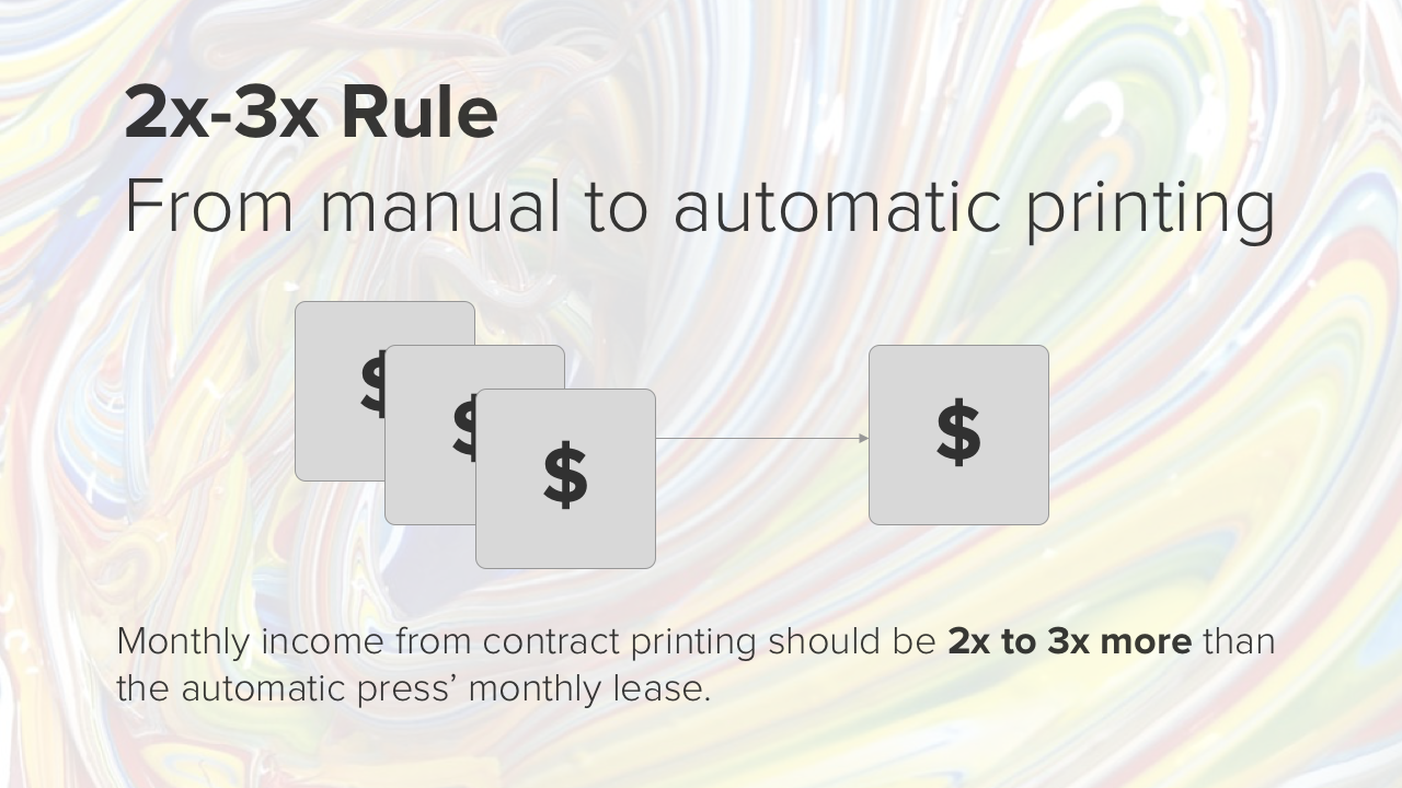 2x-3x rule for going from manual to automatic screen printing
