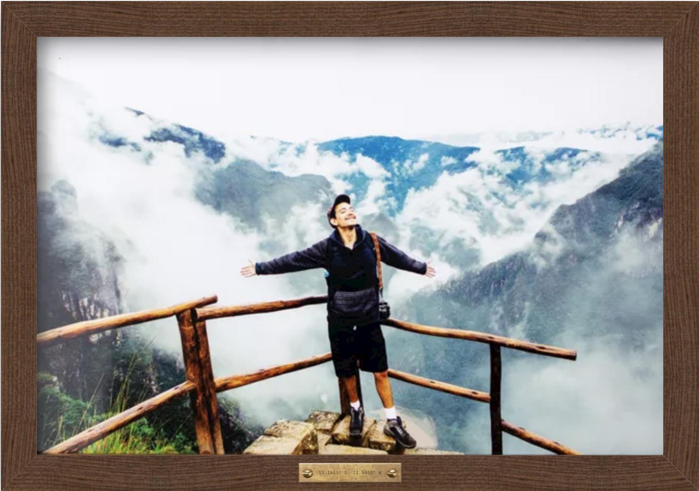 framed photo of hiker at yosemite