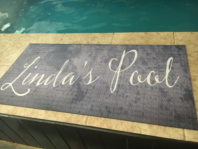 "The ""Linda's Pool"" mat at her Original Endless Pools swimming machine"