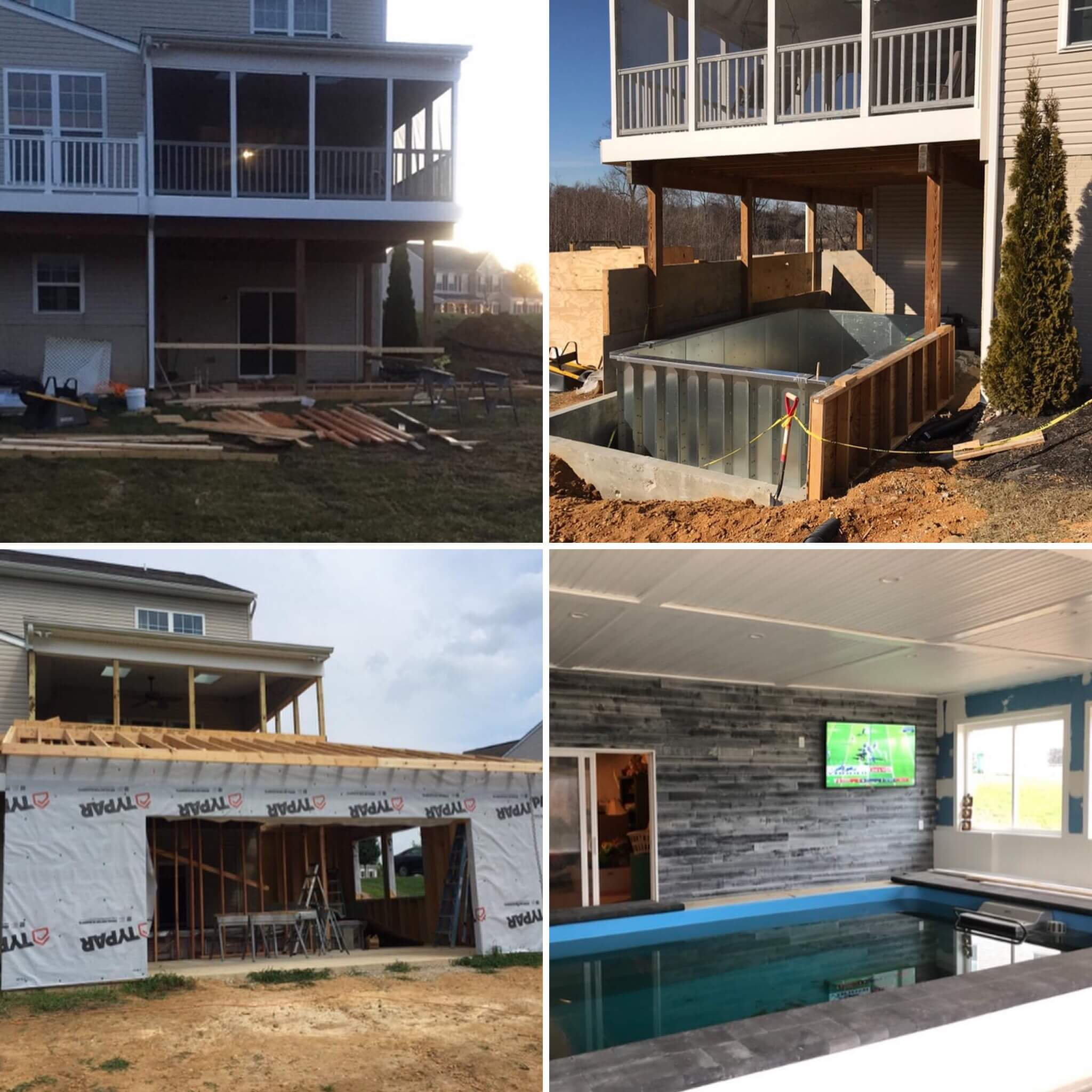 stages of progress of the home addition for the Endless Pool room