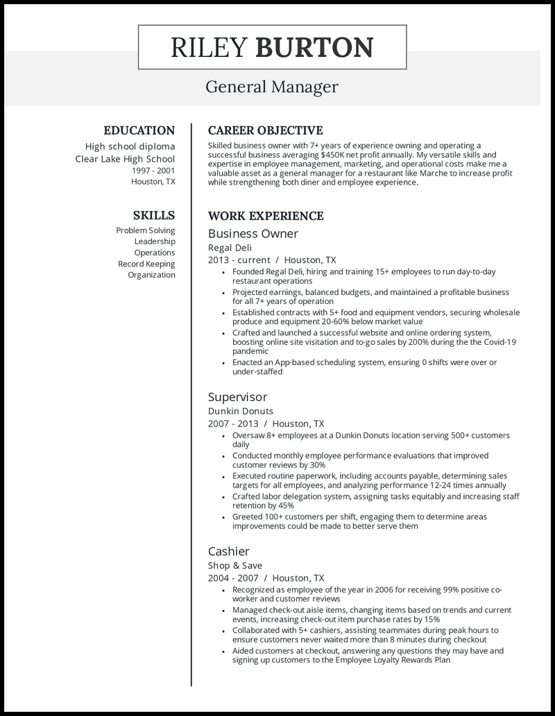 Business owner resume with 7+ years of experience