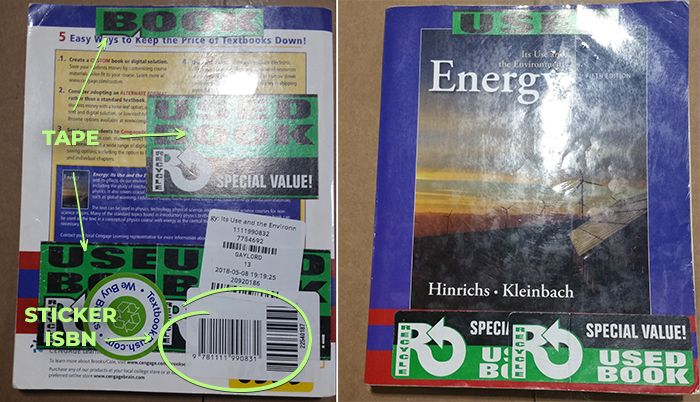 A picture of an alternate edition book covered with stickers and tape