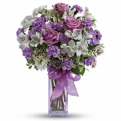 Purple Easter flowers delivery with white alstroemeria and bow