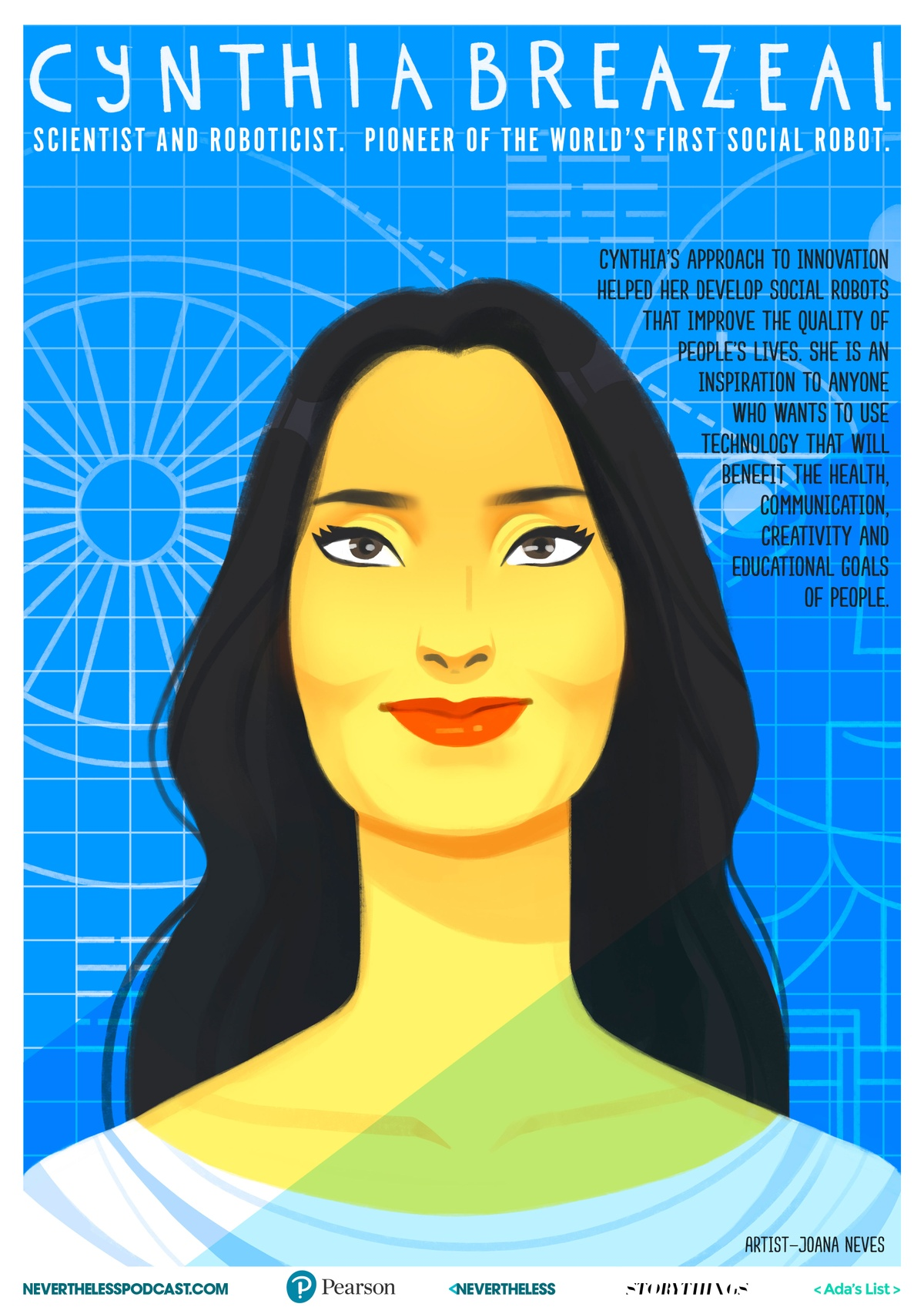 illustrated poster of Dr. Cynthia Brezeal by Joana Neves