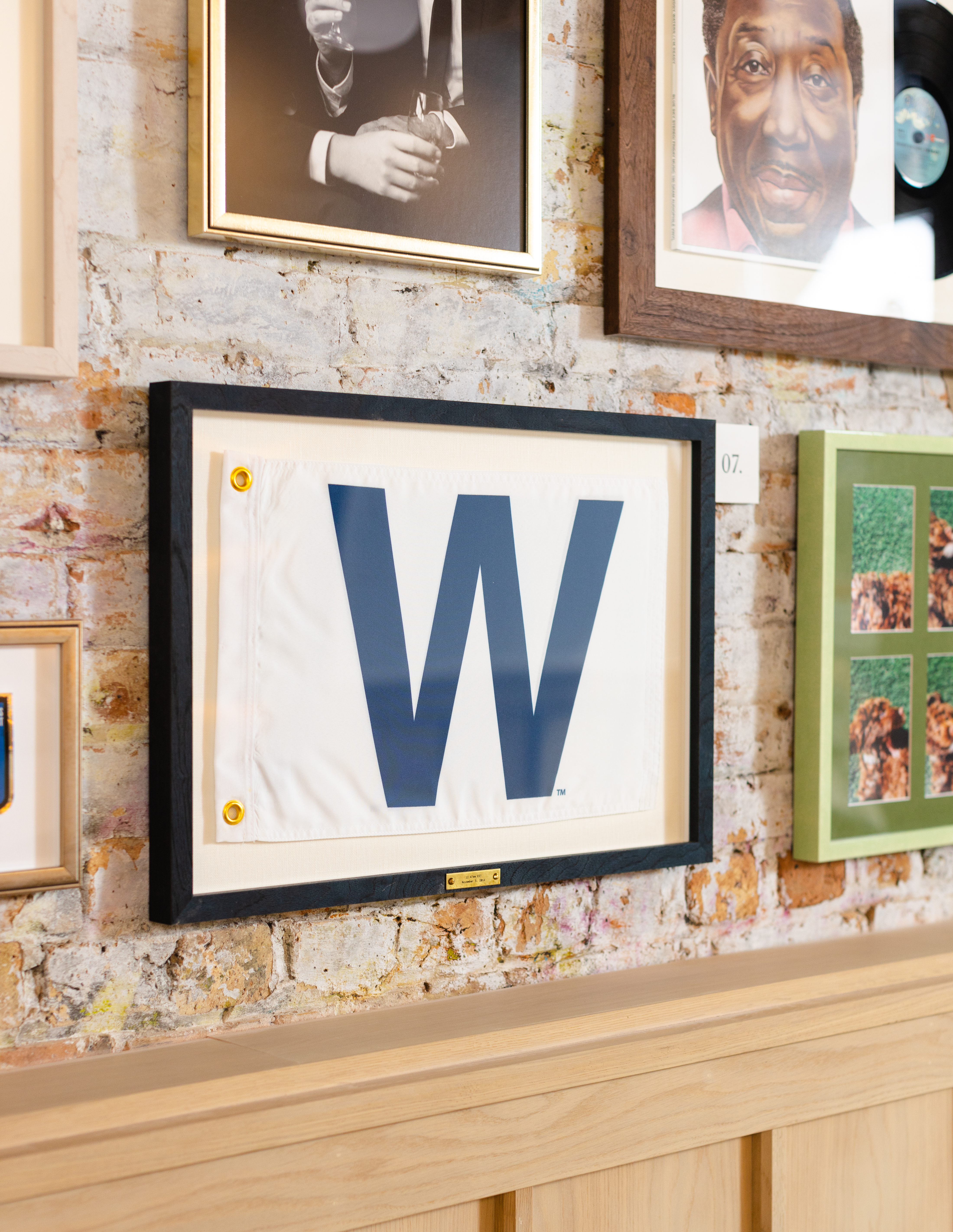 cubs win flag in frame