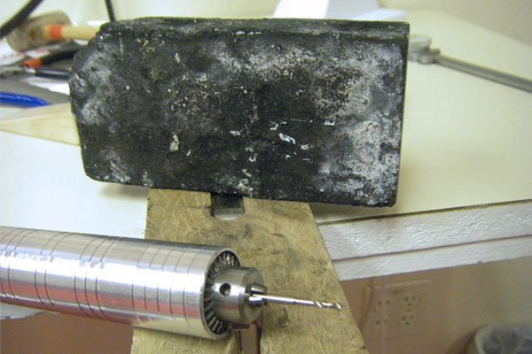 Options for making granules - shallow holes in a charcoal block