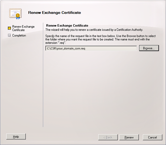 Renew exchange certificate save as