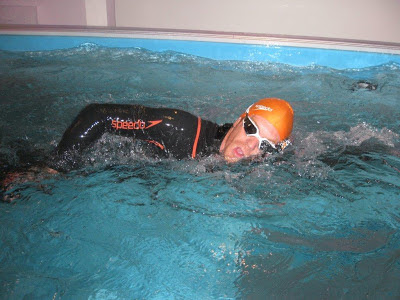 Marathon swimmer Sean Conway trains in the Endless Pools swimming machine for his UK open water swim