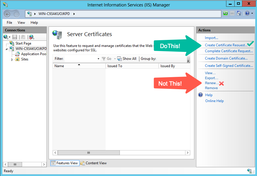 Renew An Ssl Certificate Iis 8 85 Windows Server 2012