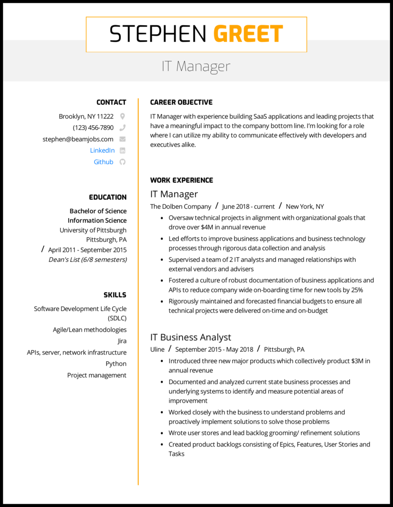 5 It Manager Resume Examples Guide For 2020