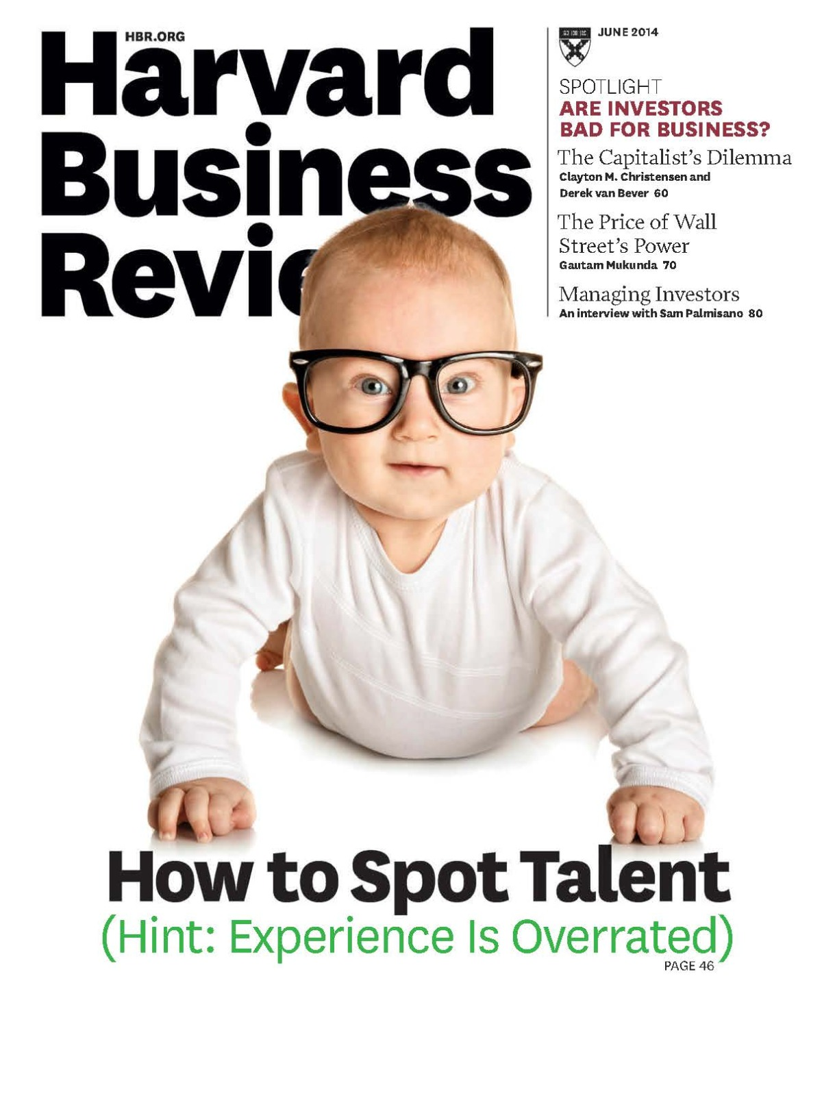 cover of Harvard Busines Review issue featuring a baby wearing glasses and a caption that reads 'How to Spot Talent' with a sub-caption that reads 'Hint: Experience Is Overrated'