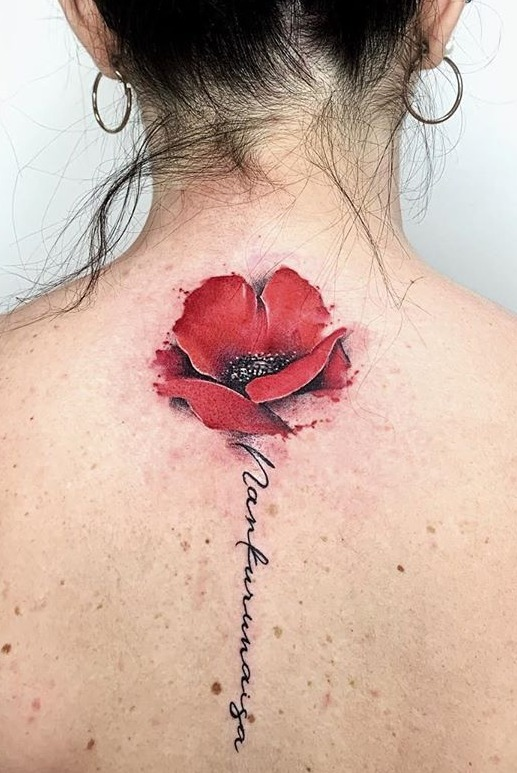 coloured Poppy flower tattoo