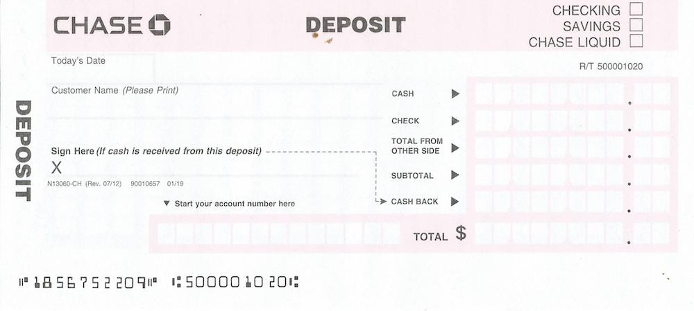 chase deposit slip