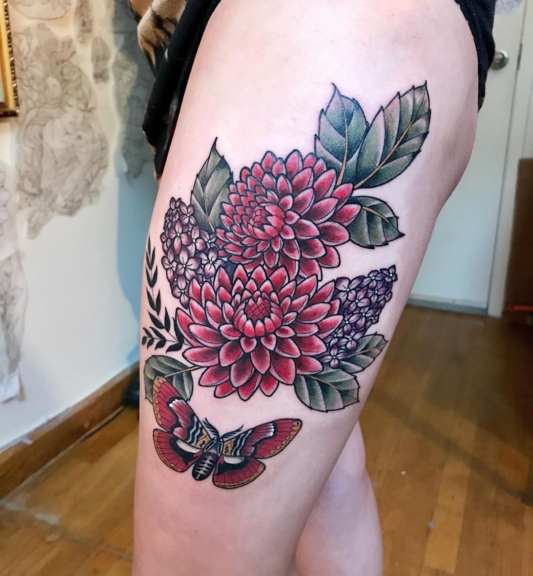Red dahlia in traditional style