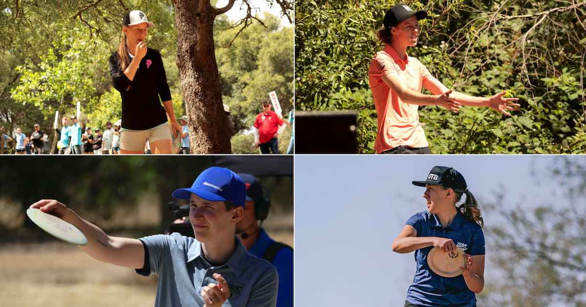 A collage of four women, each a professional disc golfer in the middle of a round