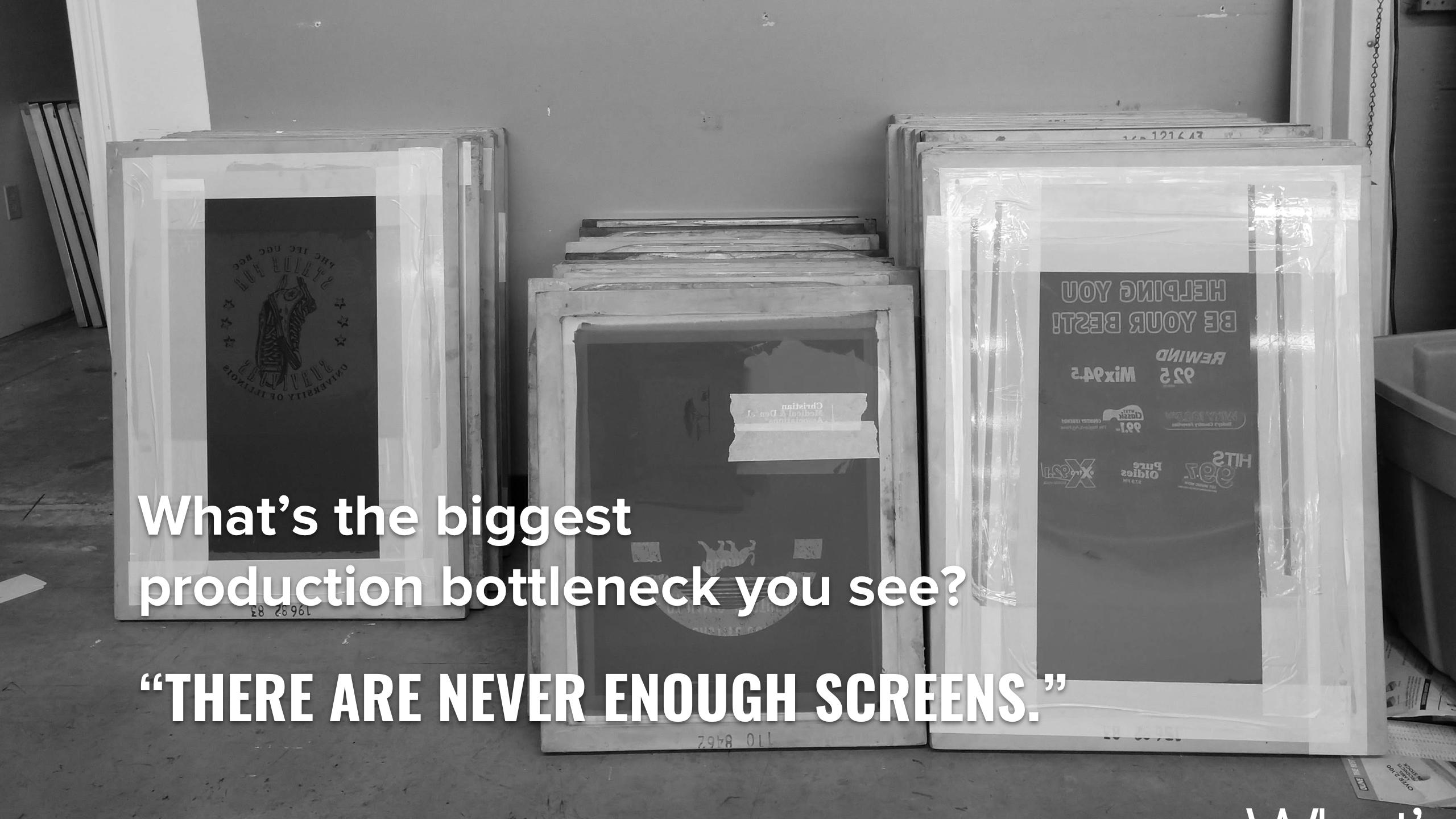 Screens for screen printing waiting for reclaim