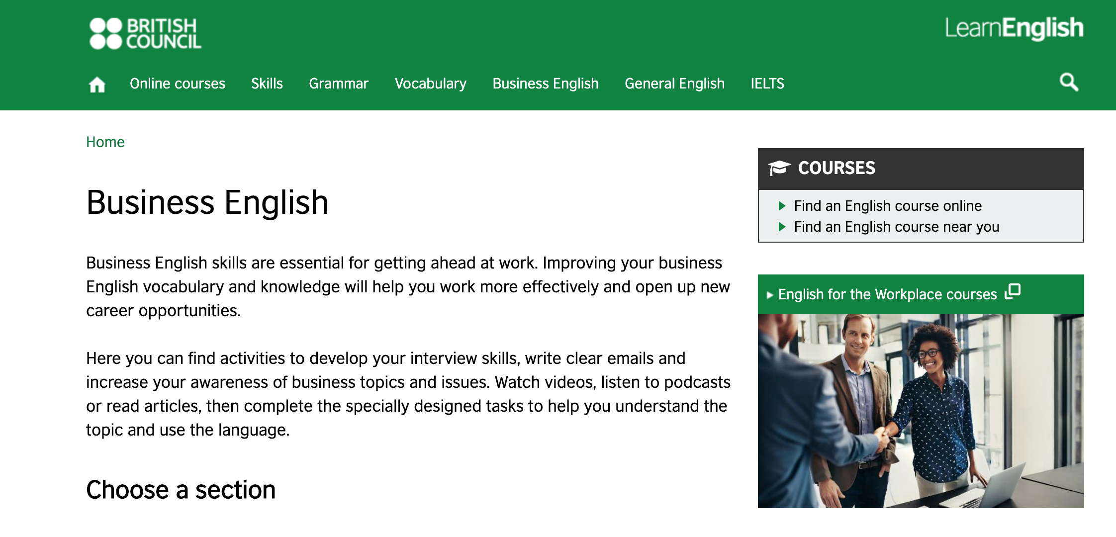 Screenshot of British Council website with Business English web page.