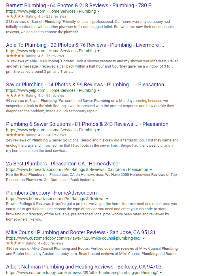 Plumber review search