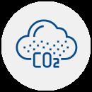 """Ícone de uma nuvem com o escrito """"CO2"""" centralizado embaixo."""