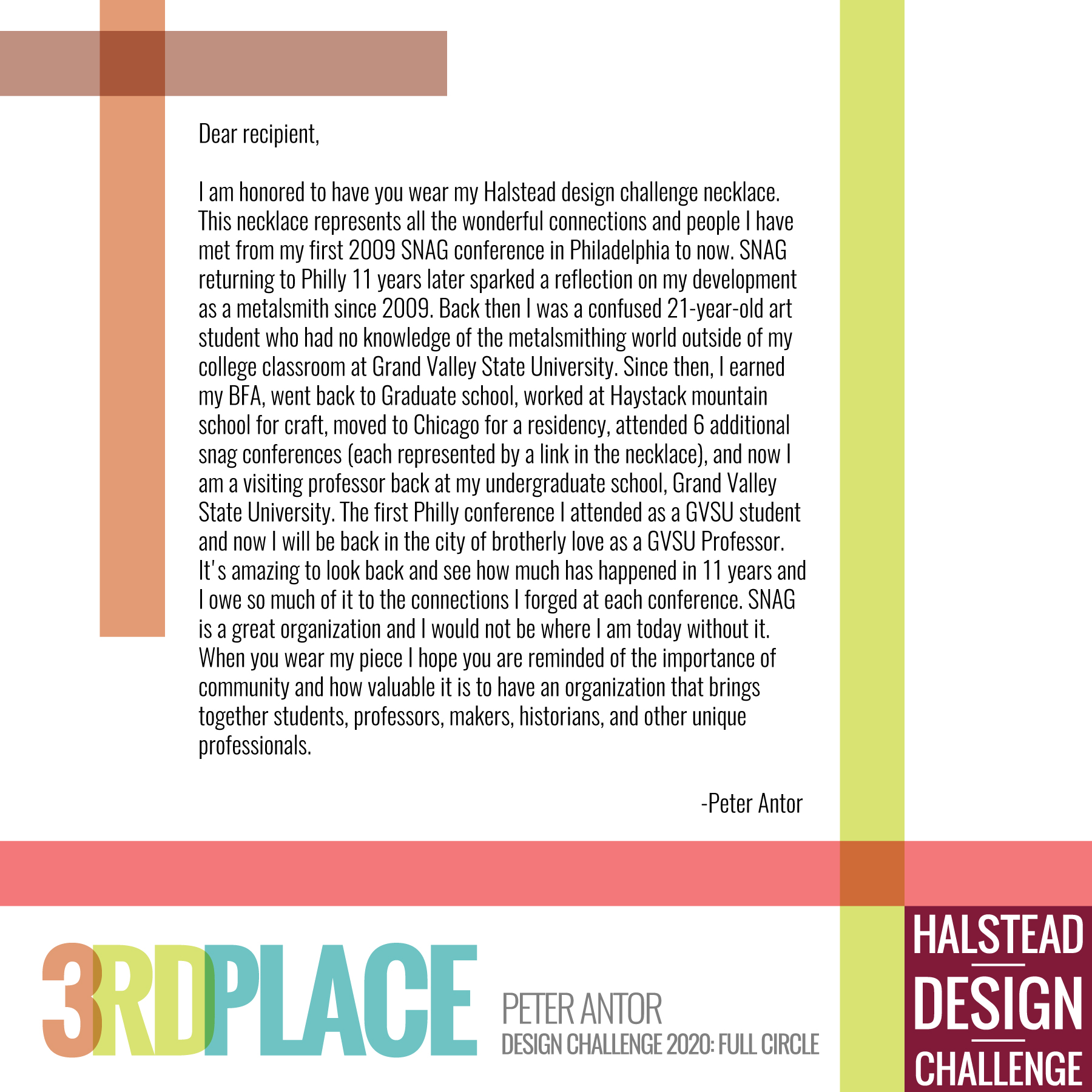 HDC 2020 3rd Place Peter Antor Letter to the Wearer