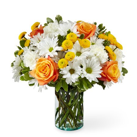 Best selling Thanksgiving flowers orange roses and white daisies bouquet