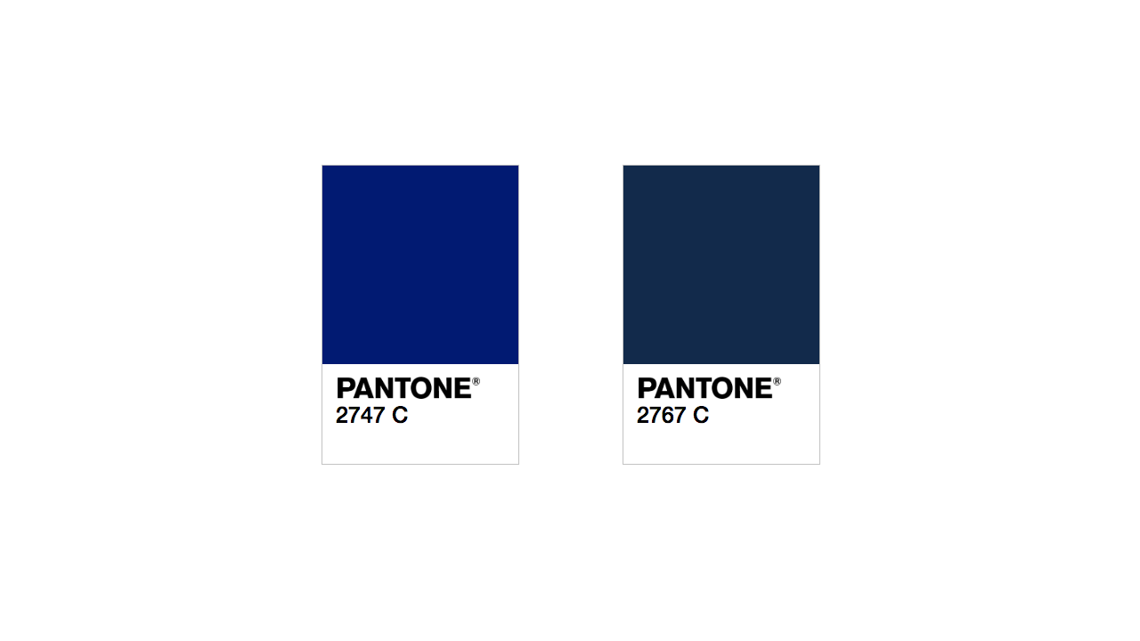 "Two Pantone colors that anyone would describe as ""blue, navy"""