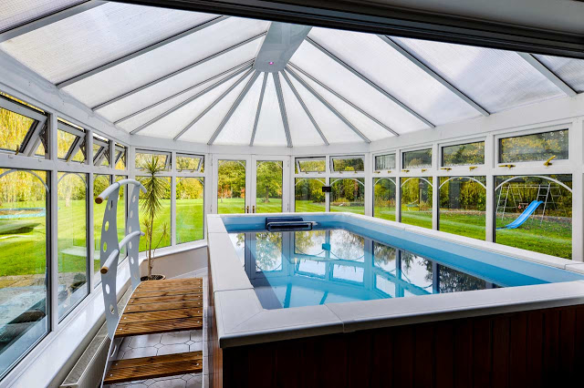 The Endless Pool installed in swimming coach Carol's conservatory