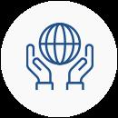 Ícone com o desenho de duas mão em volta a um globo terreste