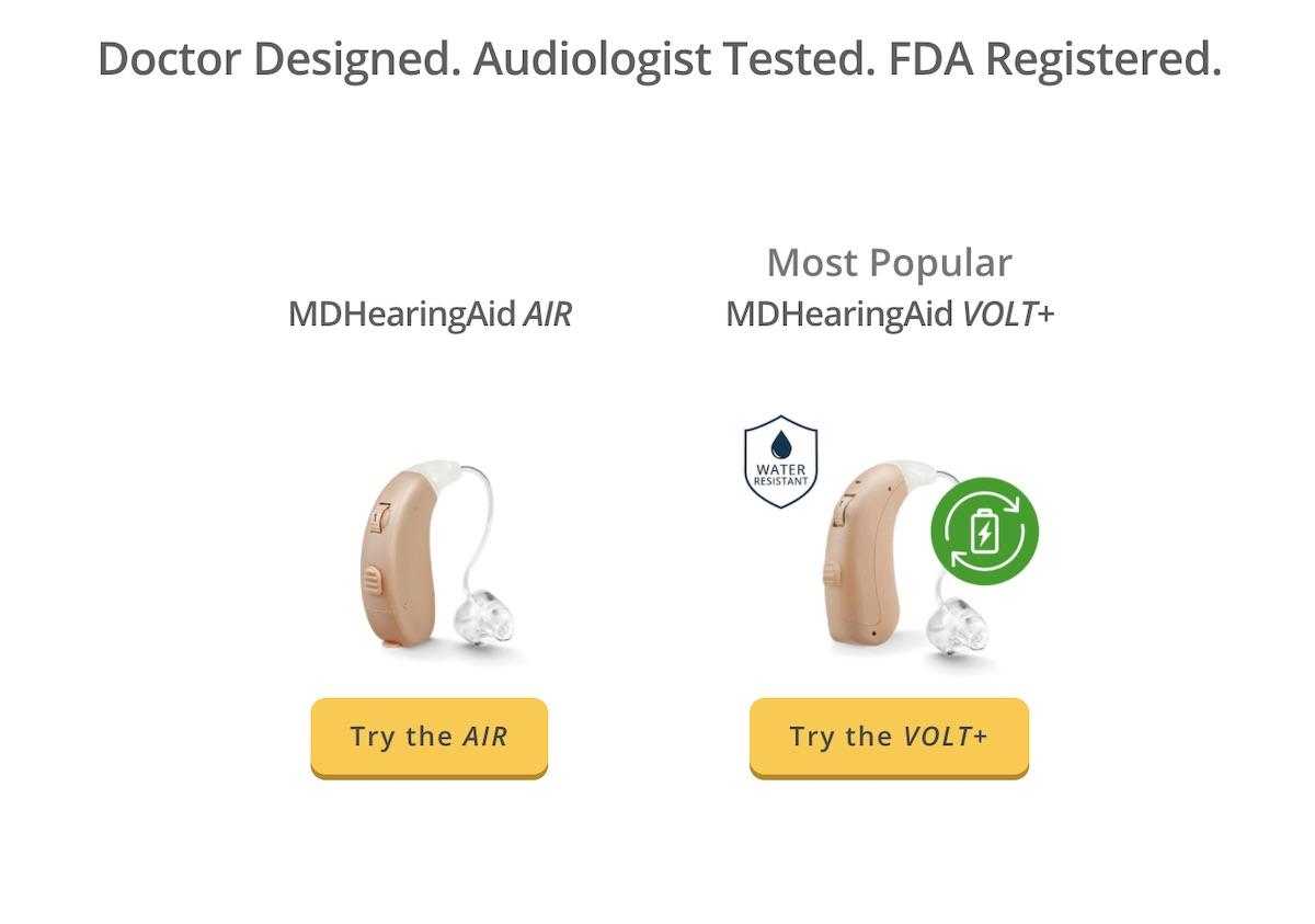 MDHearingAid AIR and MDHearingAid VOLT+