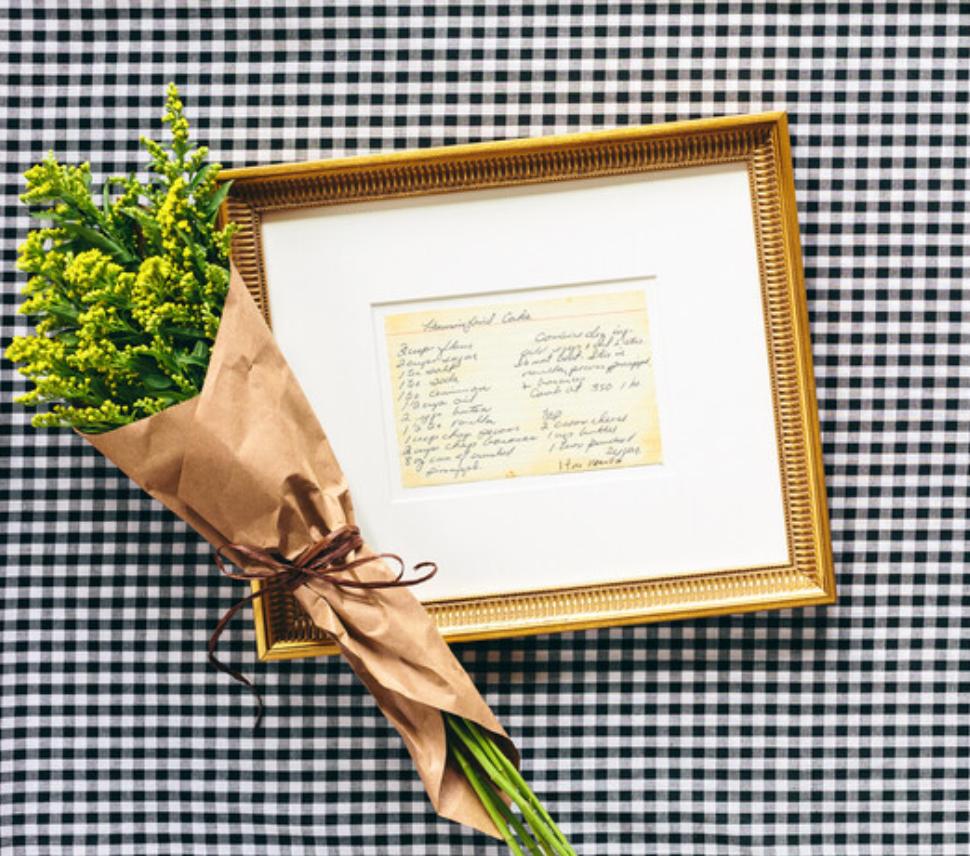 framed recipe card