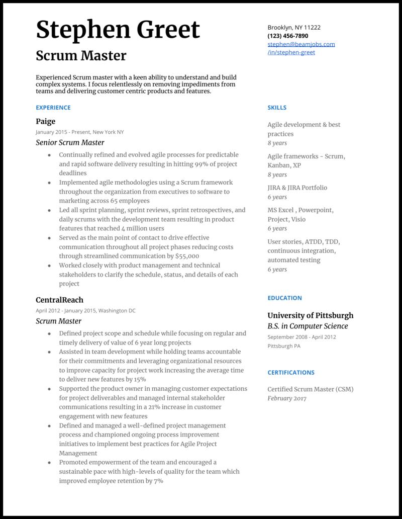 Agile scrum master resume causal essay sample