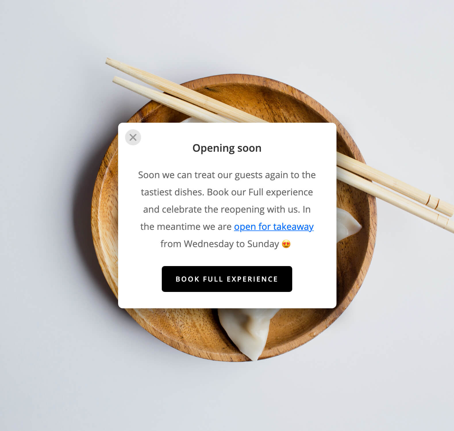 Pop-up on your restaurant website