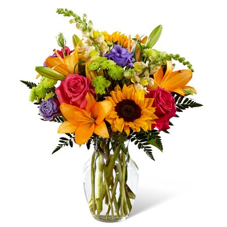Sunflower orange lily and hot pink roses st patricks day bouquet